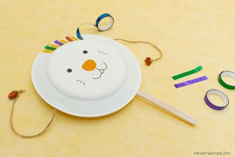 おもちゃ 手作り 作り方 でんでん太鼓 紙皿 割り箸
