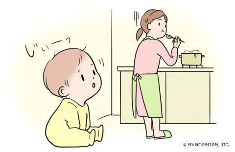 赤ちゃん 後追い キッチン イラスト
