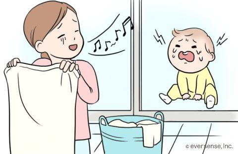 赤ちゃん 後追い ベランダ イラスト