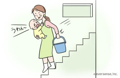 赤ちゃん 後追い 階段 ダイエット イラスト