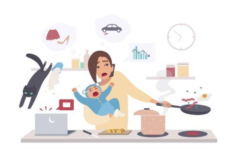 女性 赤ちゃん 家事 ワンオペ イラスト